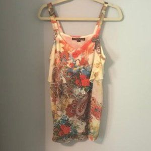 Multi colored soft layered top
